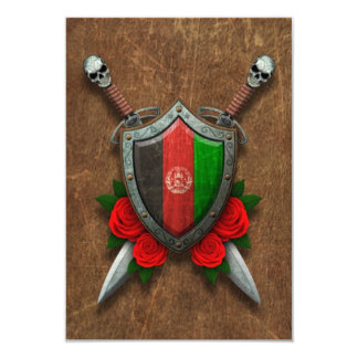 Aged Afghan Flag Shield and Swords with Roses Custom Invite