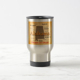 Aged Alabama State Pride Map Silhouette Coffee Mugs