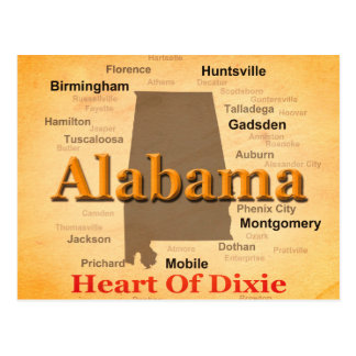 Aged Alabama State Pride Map Silhouette Post Card