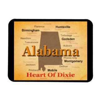 Aged Alabama State Pride Map Silhouette Rectangular Magnet