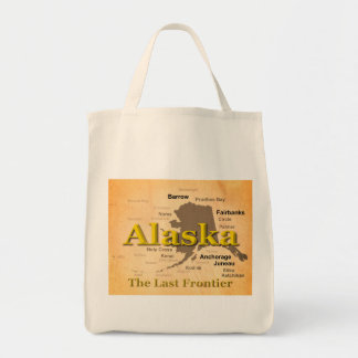 Aged Alaska State Pride Map Silhouette Bags