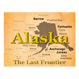 Aged Alaska State Pride Map Silhouette Post Card