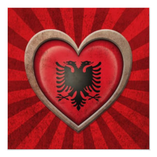 "Aged Albanian Flag Heart with Light Rays 5.25"" Square Invitation Card"