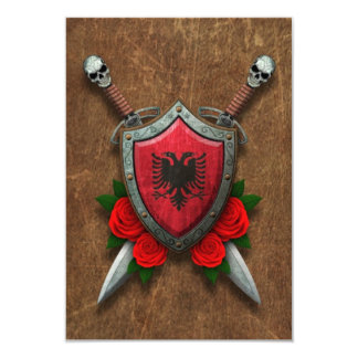 Aged Albanian Flag Shield and Swords with Roses Custom Invite
