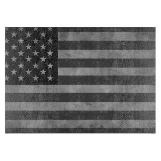 Aged American Flag Glass Cutting Board