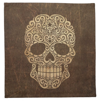 Aged and Scratched Swirling Sugar Skull Napkin