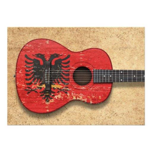 Aged and Worn Albanian Flag Acoustic Guitar Custom Invitation