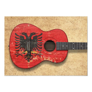 "Aged and Worn Albanian Flag Acoustic Guitar 5"" X 7"" Invitation Card"