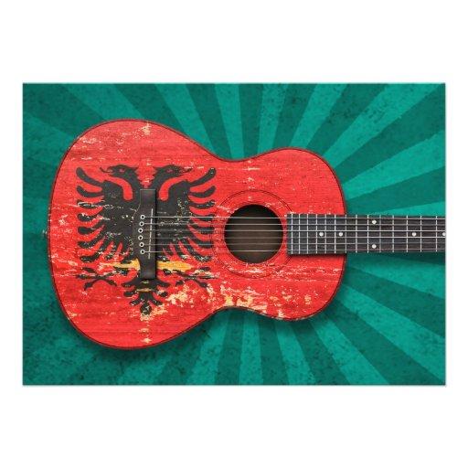 Aged and Worn Albanian Flag Acoustic Guitar, teal Custom Invitation