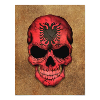 Aged and Worn Albanian Flag Skull 11 Cm X 14 Cm Invitation Card