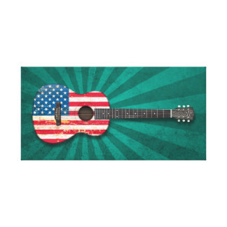 Aged and Worn American Flag Acoustic Guitar, teal Stretched Canvas Prints