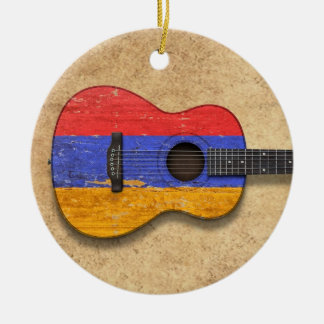 Aged and Worn Armenian Flag Acoustic Guitar Christmas Ornament