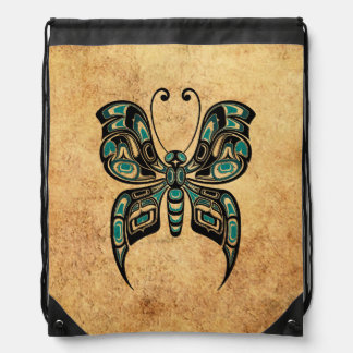 Aged and Worn Blue Haida Spirit Butterfly Drawstring Bags
