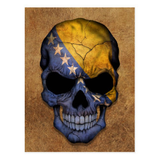 Aged and Worn Bosnia - Herzegovina Flag Skull Postcard