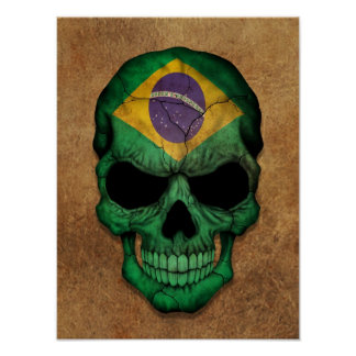 Aged and Worn Brazilian Flag Skull Poster