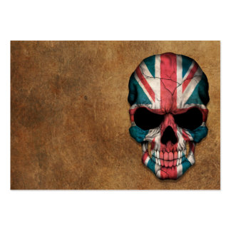 Aged and Worn British Flag Skull Pack Of Chubby Business Cards