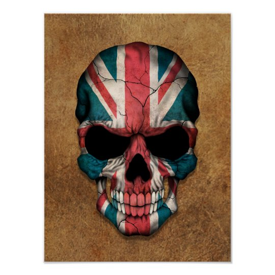 Aged and Worn British Flag Skull Poster
