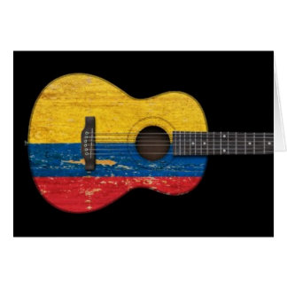Aged and Worn Colombian Flag Acoustic Guitar, blac Card