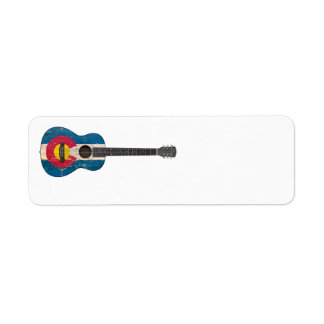 Aged and Worn Colorado Flag Acoustic Guitar Return Address Label