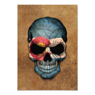 "Aged and Worn Colorado Flag Skull 3.5"" X 5"" Invitation Card"