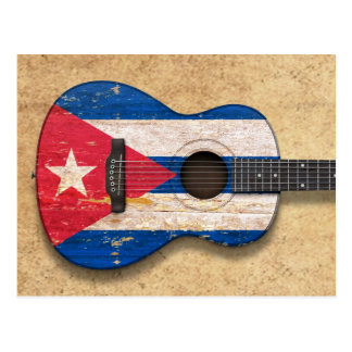 Aged and Worn Cuban Flag Acoustic Guitar Postcard