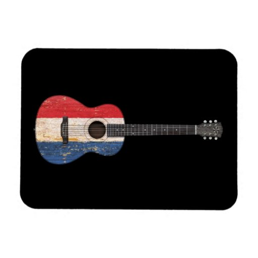 Aged and Worn Dutch Flag Acoustic Guitar, black Magnets