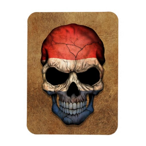 Aged and Worn Dutch Flag Skull Vinyl Magnet