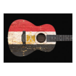 Aged and Worn Egyptian Flag Acoustic Guitar, black Cards