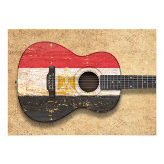 Aged and Worn Egyptian Flag Acoustic Guitar Personalized Invitations