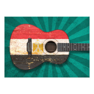 Aged and Worn Egyptian Flag Acoustic Guitar, teal Invite