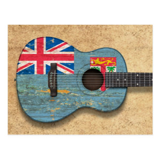 Aged and Worn Fiji Flag Acoustic Guitar Postcard