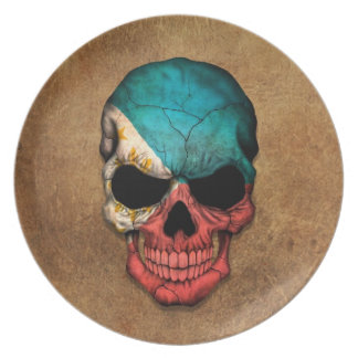 Aged and Worn Filipino Flag Skull Plate
