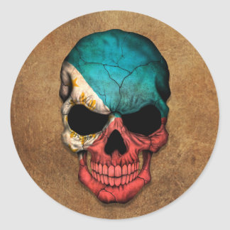 Aged and Worn Filipino Flag Skull Sticker
