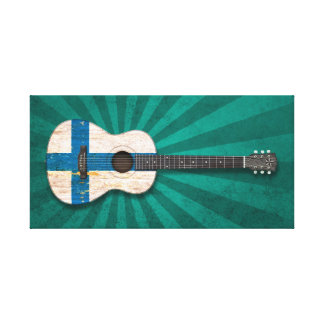 Aged and Worn Finnish Flag Acoustic Guitar, teal Gallery Wrapped Canvas