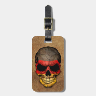 Aged and Worn German Flag Skull Luggage Tag