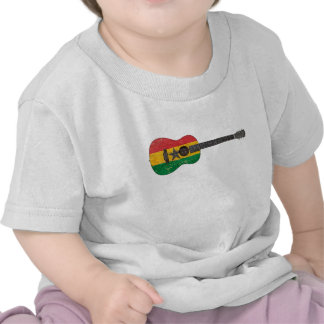 Aged and Worn Ghana Flag Acoustic Guitar Shirts