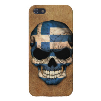 Aged and Worn Greek Flag Skull Cover For iPhone 5/5S