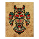 Aged and Worn Haida Spirit Owl Poster