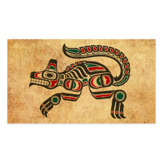 Aged and Worn Haida Spirit Wolf Double-Sided Standard Business Cards (Pack Of 100)