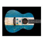 Aged and Worn Honduras Flag Acoustic Guitar, black Post Card