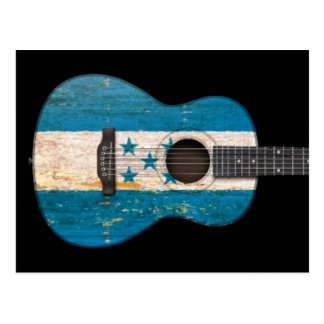 Aged and Worn Honduras Flag Acoustic Guitar, black Postcard