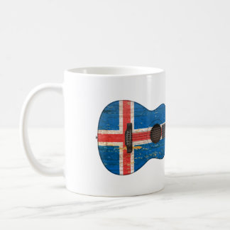 Aged and Worn Icelandic Flag Acoustic Guitar Coffee Mug