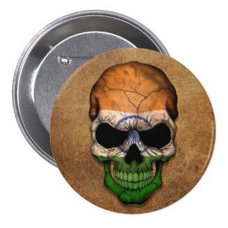 Aged and Worn Indian Flag Skull 7.5 Cm Round Badge
