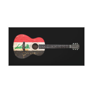 Aged and Worn Iraqi Flag Acoustic Guitar, black Gallery Wrap Canvas