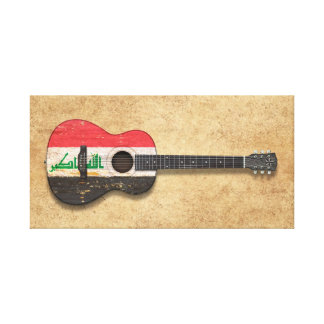 Aged and Worn Iraqi Flag Acoustic Guitar Stretched Canvas Prints
