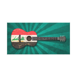 Aged and Worn Iraqi Flag Acoustic Guitar, teal Gallery Wrapped Canvas