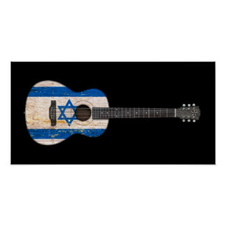 Aged and Worn Israeli Flag Acoustic Guitar, black Poster
