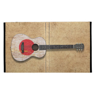 Aged and Worn Japanese Flag Acoustic Guitar iPad Folio Cases