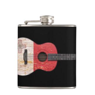 Aged and Worn Maltese Flag Acoustic Guitar, black Hip Flask