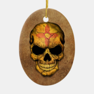 Aged and Worn New Mexico Flag Skull Christmas Tree Ornaments